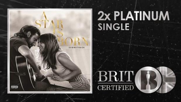 """Confirmado: """"Shallow"""" se torna a terceira multi-platina de Lady Gaga no Reino Unido"""